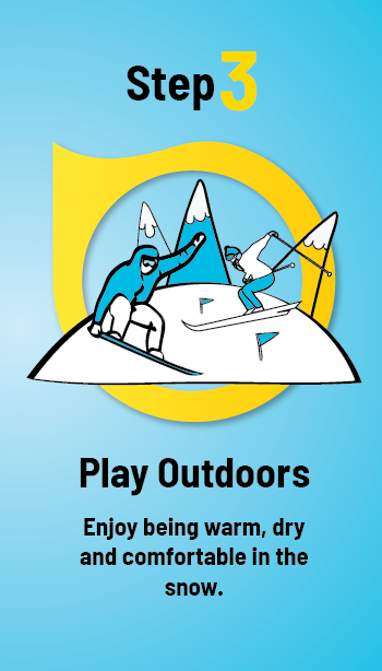 Step 3. Play Outdoors. Enjoy being warm, dry, and comfortable in the snow.