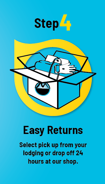 Step 4. Easy Returns. Select pickup from your lodging or drop off 24 hours at your shop.
